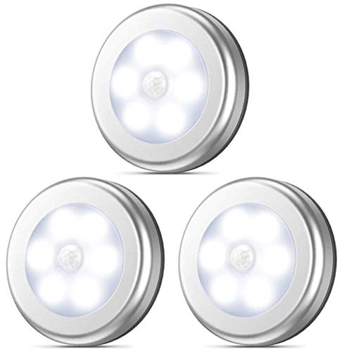 【ヘルスリーフ】 LED人感センサー ライト 電池式 LEDライト 3個セット 両面テープ付き マグネット 磁石付き ナイトライト 室内 ワイヤレス 小型 昼光色