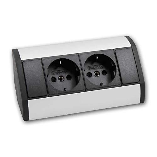 world-trading-net - Enchufe de superficie de 2 pliegues, carcasa de aluminio/plástico, cable de conexión