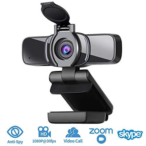 Dericam HD 1080P Webcam, USB Webcam, Computerkamera für Konferenzen, Remote-Video, Online-Unterricht und Live-Streaming, Webcam mit Dual-Mikrofon abspielen und anschließen