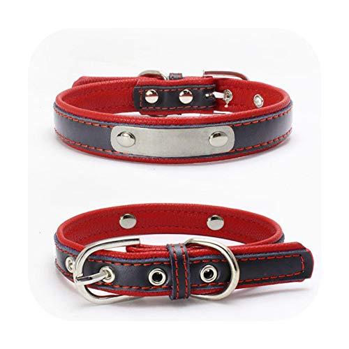 Etiqueta de identificación personalizada Collar de perro ajustable grabado personalizado nombre cachorro cuello hebilla correa correa gato labrador cuero genuino rojo XS