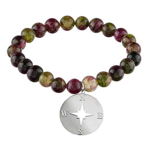 Córdoba Jewels | Pulsera en Plata de Ley 925 con Piedra semipreciosa con diseño Rosa de los Vientos