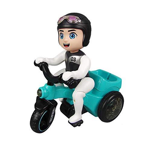 fnemo Kinder Motorrad Spielzeug,In Situ Rotation elektrische dreirädrige Motorrad Musik Licht Spielzeug Kinder Geschenk für 4-6 Jahre alte Kinder