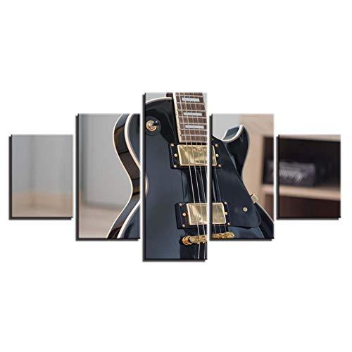 TJJQT 5 Cuadro sobre Lienzo Pinturas en Lienzo Arte de la Pared Impresiones en Alta definición Cartel 5 Piezas Roca Guitarra eléctrica Instrumento Musical Imágenes Decoración para el hogar