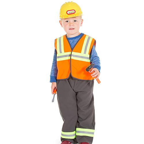 Construction Worker Builder Costume Kids Dress Up, 3-5 Years, High Quality, Fancy Dress for Kids & Toddlers   Dress Up for Girls & Boys, Unisex   Perfect Role Play for Kids by Pretend to Bee