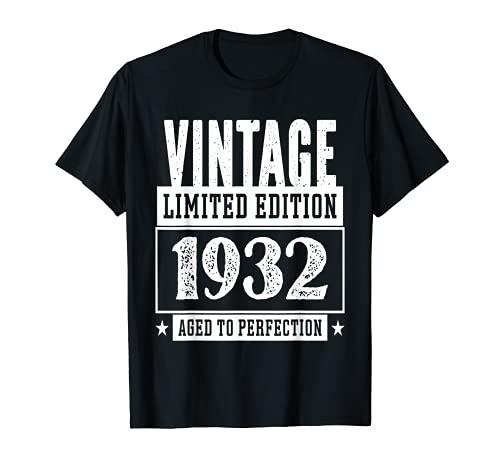 Vintage 1932 Limited Edition Maglietta 89 Anni Compleanno Maglietta