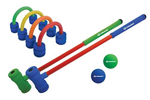 VERDES-970305 Schildkröt Funsports Set de Croquet, Juego Completo con 2 Mazos, 4 Aros Independientes y 2 Pelotas, Hecho de Espuma Suave, para Interior y Exterior, 2 Jugadores, 970305, Color