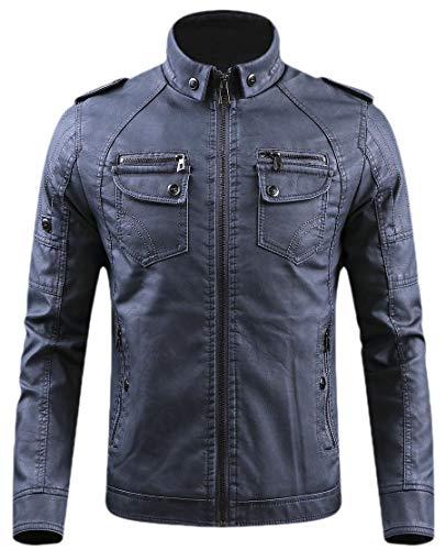 H.Wang Men Premium Fit Faux-Leather Motorcycle Leather Biker Front-Zip Jackets Brown M