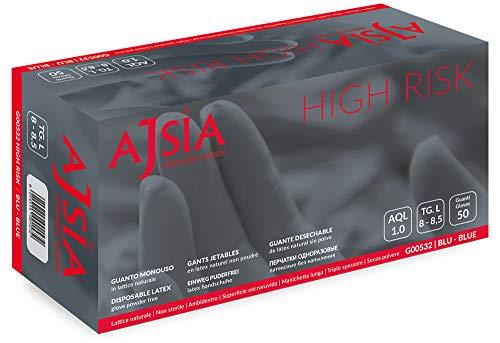 AJSIA - Guanti in Lattice MONOUSO High Risk Colore Blu 50PEZZI Super Resistenti (Tg:S,M,L,XL,XXL) (TG.M)