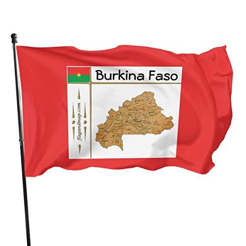 Generic Brands Burkina Faso Karte + Flagge + Titelflagge Banner Flaggen Banner