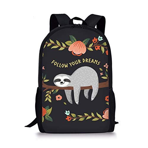 Nopersonality Kids Backpack for School Cute Funny Sloth Follow Your Dreams School Bag Pack...