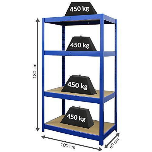 Certeo Stabiles Schwerlastregal | HxBxT 180 x 100 x 60 | 450 kg pro Fachboden