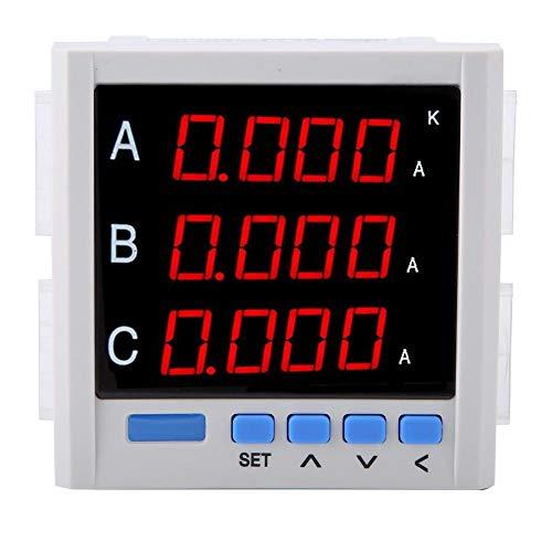 AC Amperemeter, Digitale Intelligente Anzeige Drei Phasen Programmierbare Led-bildschirm Amperemeter Hohe Genauigkeit Ampere Strom Monitor Multimeter mit RS-485 Schnittstelle (Weiß)