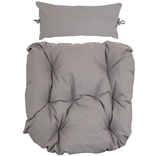 Sunnydaze Egg Chair Cushion Replacement with Head Pillow, Gray