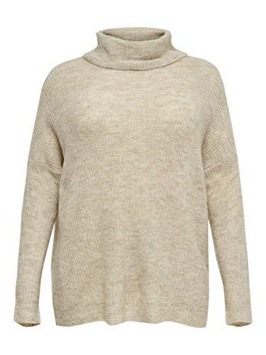 ONLY Carmakoma CARMIRNALA L/S Rollneck Pullover KNT Camiseta Cuello Alto, Pumice Stone/Detalle: w. Melange, S para Mujer