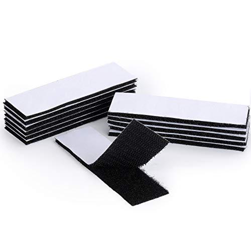 Selbstklebendes Klettband Industriestärke - EOTW Klebepads keine Nagelstreifen mehr extra starkes Klettband, doppelseitig und abnehmbar für Wände/Boden/Tür/Gläser/Metalle (Schwarz_12 Pcs 30 * 100mm)