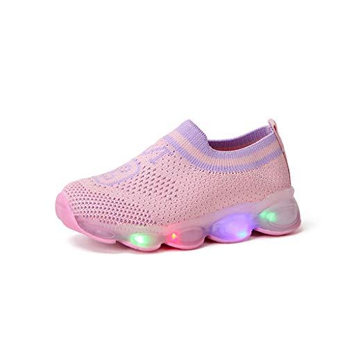 FRAUIT Kinder Jungen Mädchen LED Schuhe Sneaker Baby Freizeitschuhe Atmungsaktiver Kinder Mesh Sneaker Sport Anti Slip Trainer Babyschuhe USB Aufladen blinkende Turnschuhe 1-6 Jahre