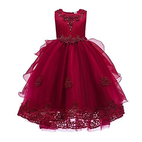 IMEKIS Vestido de dama de honor para niña o niña, sin mangas, vestido de princesa, con lentejuelas, lazo, para fiestas, bodas, cumpleaños, bailes borgoña 8-9 Years