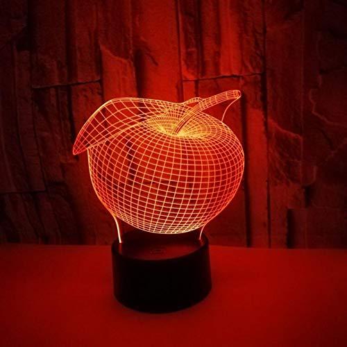Yujzpl 3D-illusielamp Led-nachtlampje, USB-aangedreven 7 kleuren Knipperende aanraakschakelaar Slaapkamer Decoratie Verlichting voor kinderen Kerstcadeau-Apple blad
