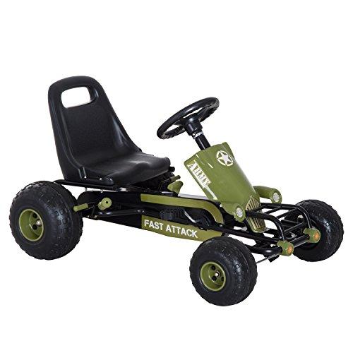 HOMCOM Go Kart Coche de Pedales Racing Deportivo con Asiento Ajustable Embrague y Freno para Niños 3-6 Años Carga 35kg 99x65x56cm Marco Acero Negro y Verde