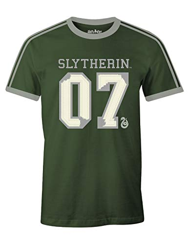 Camiseta Harry Potter para Hombre Slytherin Quidditch Finder 07 Draco Malfoy Cotton Green - XL
