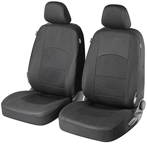 Walser Auto Sitzbezug Derby mit Reißverschluss, Zipp-IT Premium Schonbezüge Normalsitze, 2 Vordersitzbezüge schwarz 11846