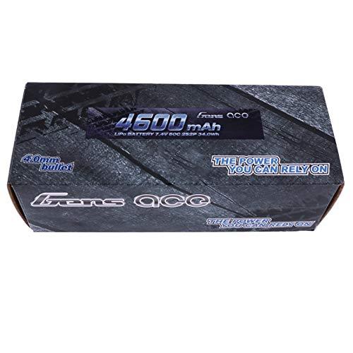 gens ace Batterie Lipo 4600 mAh 7,4V 60C 2S2P avec boîtier Rigide pour modélisme radiocommandé : Voiture, truggy, Camion, Avion, Bateau, Jouets