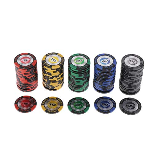 chiwanji Clay Poker Chips Texas Holdem Chips with Value on Double Sides,...