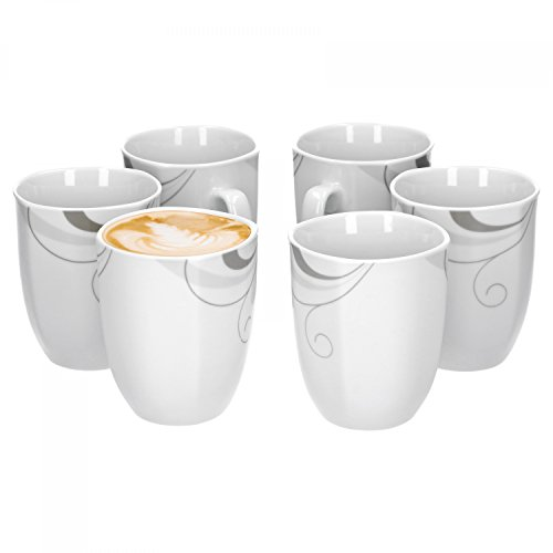 Van Well Portofino 6er Set Kaffeebecher, 330 ml, H 10,3 cm, Kaffeetasse, Rankendekor, edles Marken-Porzellan