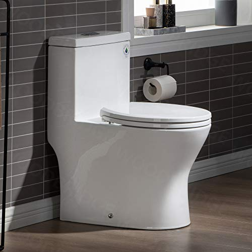 WOODBRIDGE B0500 B0500/T0031 Short Tiny One Piece Soft Closing Seat, Small, Compact Toilet T-0031