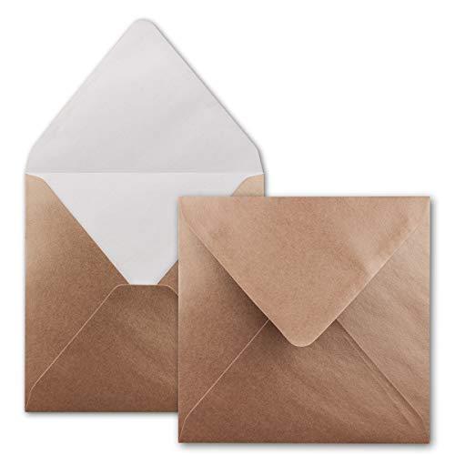 FarbenFroh® - Sobres cuadrados, color bronce metálico, 50 unidades, 15,5 x 15,5 cm, cierre con húmedo, para invitaciones y bodas