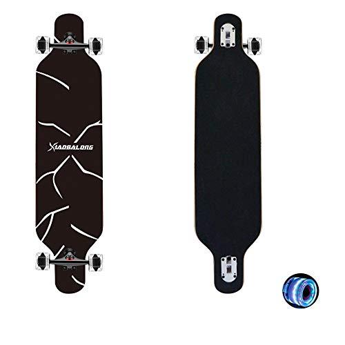cdsnxore Longboard Skateboard Cruiser komplettes Board, sowie PU-Blinkräder, Ahorn Longboard Jungen und Mädchen Bürste Street Dance Board Anfänger Erwachsenen Teen Allrad-Skateboard(139 schwarz)