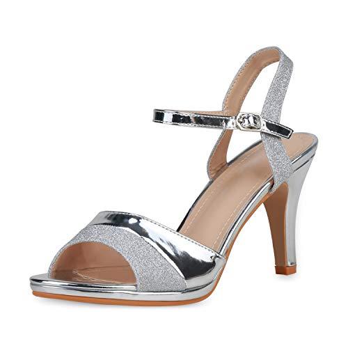 SCARPE VITA Damen High Heels Glitzer Party Schuhe Stiletto Sandaletten Metallic Absatzschuhe Elegante 191227 Silber Silver 40