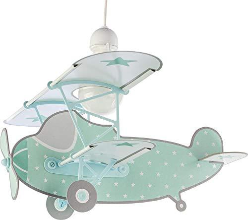 Dalber kinderlamp met sterren, dekzeil, vliegtuig, mintgroen