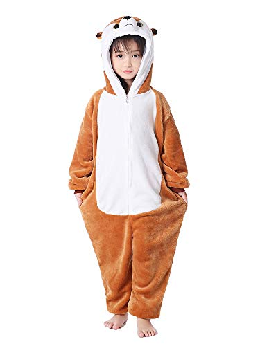 Animal Onesie Halloween Erdmännchen Schlafanzug Kostüm für Kinder Cosplay Loungewear 6 Jahre