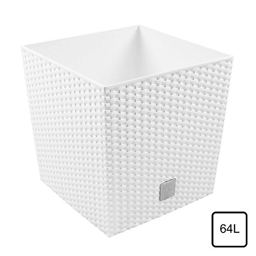 Prosper Plast Drts400L-S44940X 40X 40.8Cm Rato Low Flowerpot–Bianco–Set Da 2Pezzi (Con Inserto) 15X