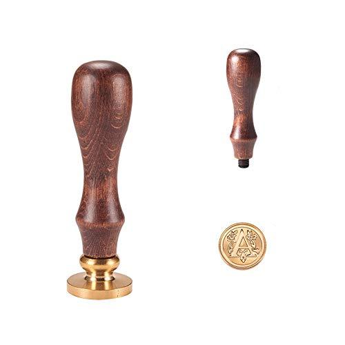 PandaHall Elite 1PC Sigillo Timbro di Cera Alfabeto Lettera A e 1PC Maniglia in Legno, 25x14mm, 75mm