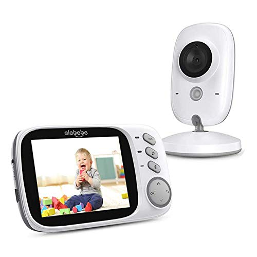 Baby Monitor - Rechargeable Baby Monitor with Camera and Audio, 3.2inch High-Resolution LCD Screen, Wall Mounted/Table, VOX Mode, 2-Way Audio, Night Vision, 2.4Ghz Stable Auto Connection Without WiFi