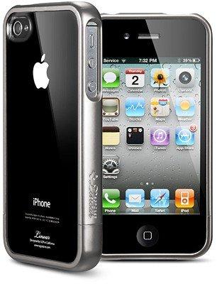 Spigen Linear Crystal Series Custodia per iPhone 4S/4, Grigio Metallo