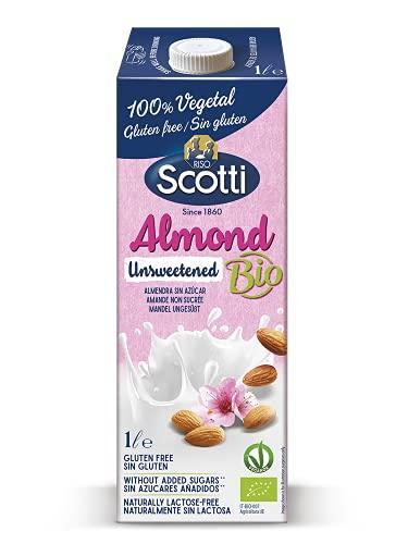 Riso Scotti ungesüßtes Mandelgetränk - 100% pflanzliches, biologisches, gluten- und laktosefreies Getränk, Mandelmilch ohne Zuckerzusatz, 1 L