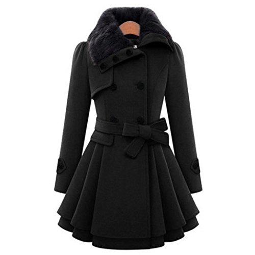LuckyGirls Damen Wollmantel Winter Mantel Lange mit Gürtel Schalkragen Zweireiher Casualkleider (Schwarz, S)