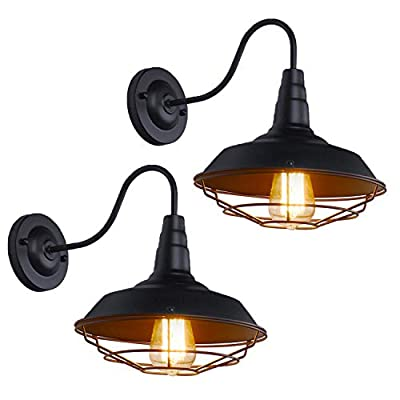 Walnut Tree Gooseneck Wall Sconce with Wire Cage 2 Pack Farmhouse Barn Light Fixture Industrial Vintage Wall Lamp, Black