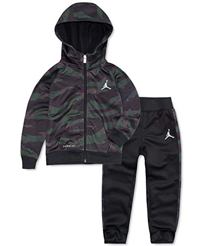 Jordan Boy`s Camo Print Therma FIT Hoodie & Jogger Pants 2 Piece Set (Black(655641-023)/Camo, 12 Months)