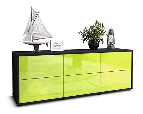 Stil.Zeit TV Schrank Lowboard Remus, Korpus in anthrazit matt/Front im Hochglanz Design Limettengrün (135x49x35cm), mit Push to Open Technik und hochwertigen Leichtlaufschienen, Made in Germany