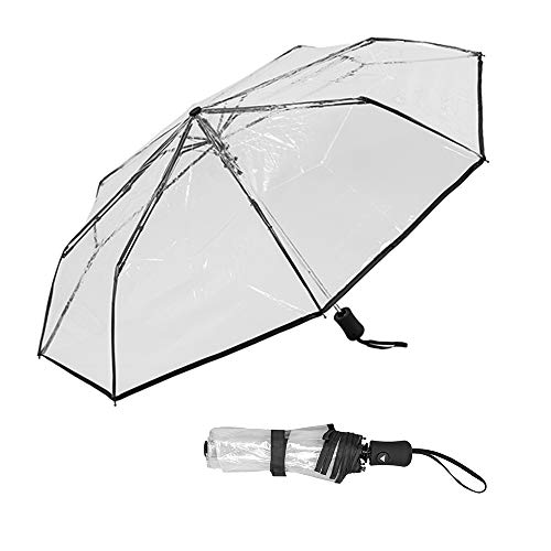 Susino Paraplu, inklapbaar, transparant, voor dames, ultracompact, 29 cm lang, robuust, winddicht, diameter 90 cm
