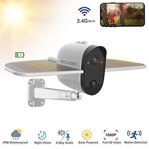 Wireless IP Outdoor Solar Camera, SOLIOM 1080p Wireless Security Camera with Built-in 4000Mah Battery and Solar Panel for Easy Outdoor Surveillance