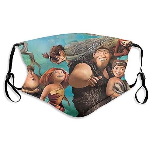 The Croods - Mascarilla reutilizable para cubrir la cara con bolsillos para filtros elásticos y ajustables