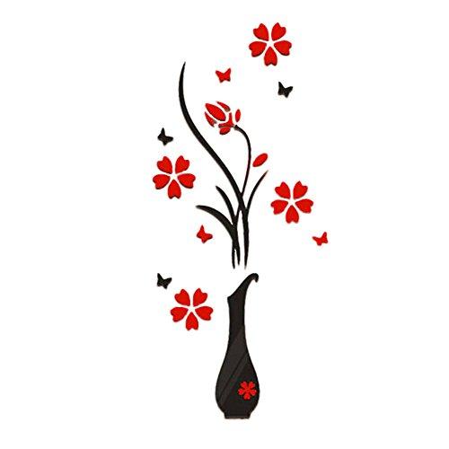 WandSticker FORH DIY Vase Blume Baum Wandtattoo Kristall Acryl 3D Wand Sticker mit Abnehmbar Zweigen Wandaufkleber für Wohnzimmer Schlafzimmer Küche Fenster Flur (Schwarz)