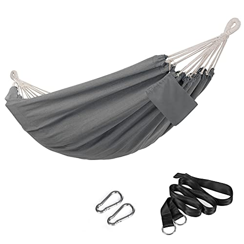 SONGMICS Double Hammock, 98.4 x 59.1 Inches, 660 lb Load Capacity, with Compression Bag, Mounting Straps, Carabiners, for Terrace, Balcony, Garden, Outdoor, Camping, Gray UGDC15GY