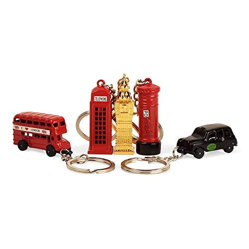 BOHS London-Andenken-Geschenk Rote Telefonzelle Bus Mail Box Taxi Big Ben Miniatur-Modell Kleine Schlüsselanhänger, 5pcs / Set