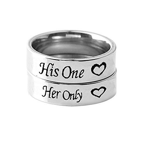 ANAZOZ Paar Ringe Edelstahl His One Her Only Verlobungsring Trauringe Online Shop Silber Freundschaftsringe Vintage für Paars Damen 60 (19.1) & Herren 67 (21.3)